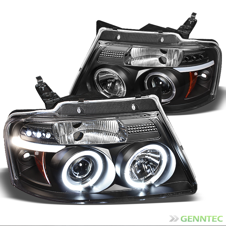 2004-2008 F150 Black Halo Projector Headlights w/Daytime LED Pair Left+Right 2005 2006 2007