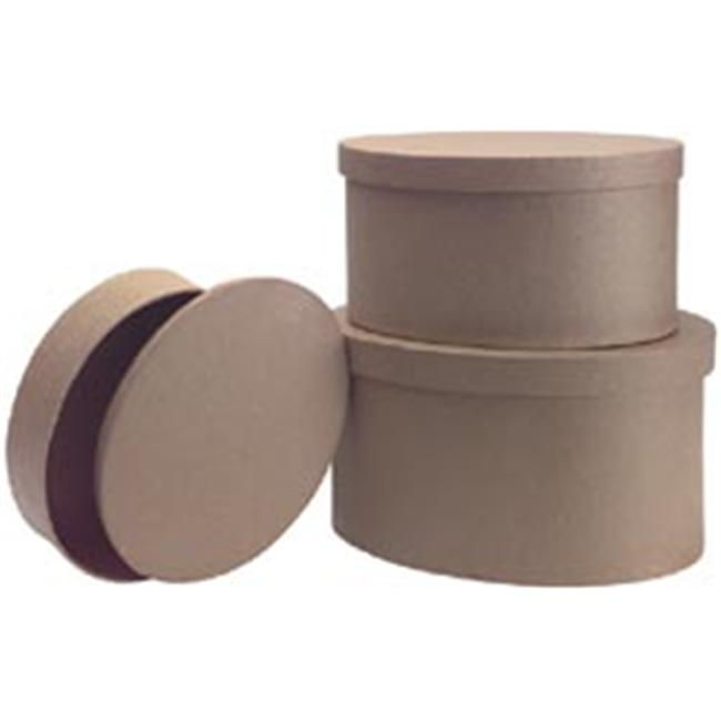 DCC 207367 Paper Mache Oval Box Set Of 3-9. 5 inch   8. 5 inch   7. 5 inch