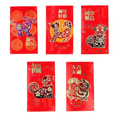 6PCS Colorful Dog Big Chinese New Year Money Envelopes Hong Bao Red - Envelopes Dog