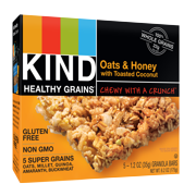 (4 Pack) KIND Healthy Grains Granola Bar, Oats & Honey with Toasted Coconut, 5 Bars, Gluten Free, Healthy Grains Bars