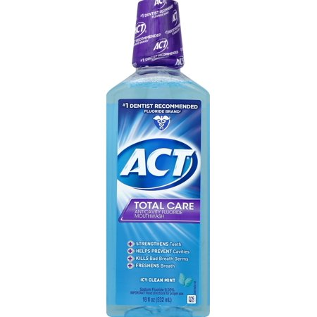 ACT® Total Care Anticavity Fluoride Icy Clean Mint Mouthwash, -