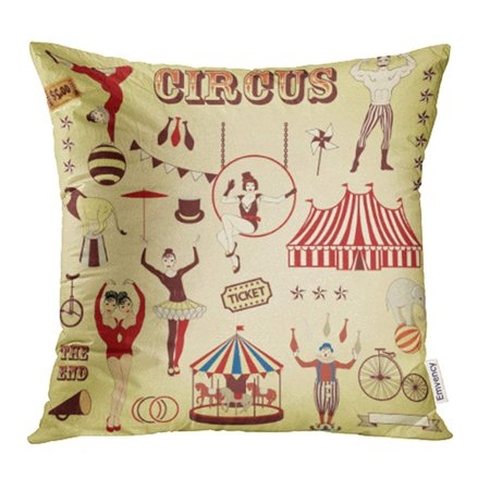 ARHOME Vintage Pattern of The Circus Carnival Clown Acrobat Stage Ticket Siamese Pin Pillowcase Cushion Cover 18x18 inch - Carnival Ticket