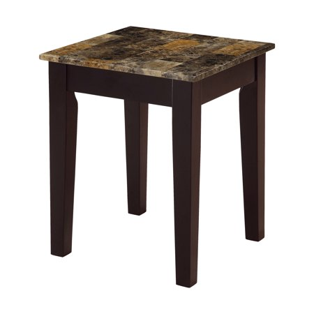acme celestial faux marble end table in cherry. Black Bedroom Furniture Sets. Home Design Ideas