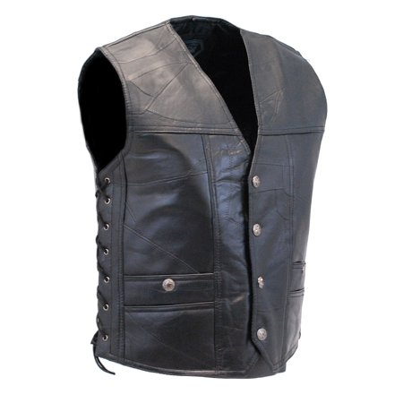 CCW Patch Leather Side Lace Biker Vest #VM1283GLK- M
