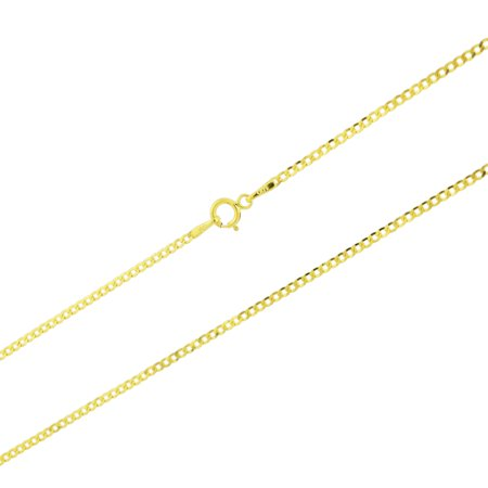 14k Yellow Gold Solid 1.5mm Thin Cuban Curb Chain Pendant Necklace 16