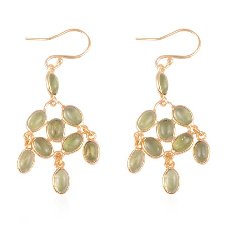Dangle Drop Earrings 925 Sterling Silver Vermeil Yellow Gold Oval Peridot Gift Jewelry for