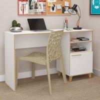 Minetta 2-Shelf Mid-Century Office Desk in White