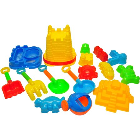 JustForKids Beach Toys For Kids with Reusable Mesh Bag Castle Bucket Sand Mold, 16-Piece