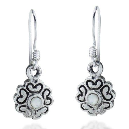 Heart Flower of Love MOP .925 Silver Dangle Earrings (Mop Dangle)