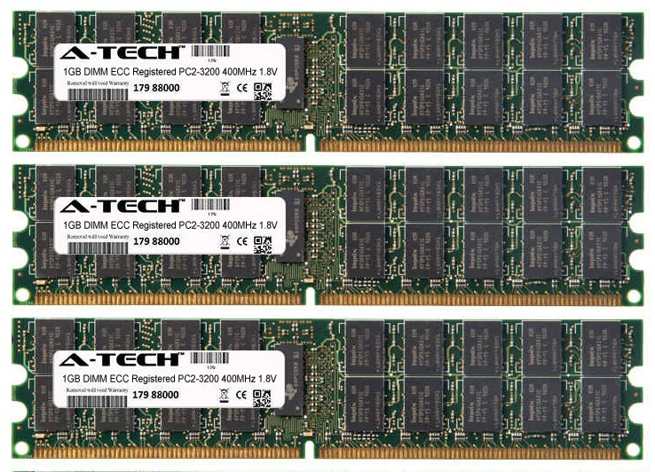3GB Kit 3x 1GB Modules PC2-3200 400MHz 1.8V ECC Registered DDR2 DIMM Server 240-pin Memory Ram