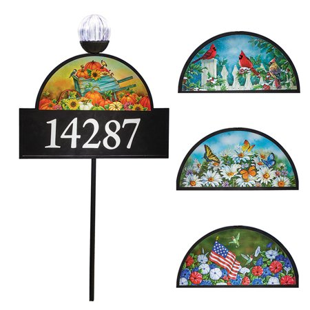 4 Seasons Decorative Address Sign With Solar Light Numbers Home Plaque Garden Stake