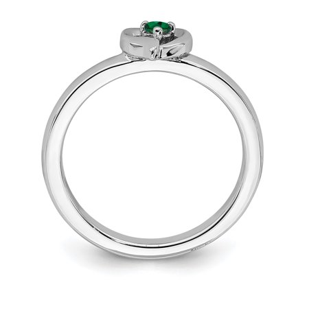 Sterling Silver Stackable Expressions Created Emerald Heart Ring Size 7 - image 2 of 3