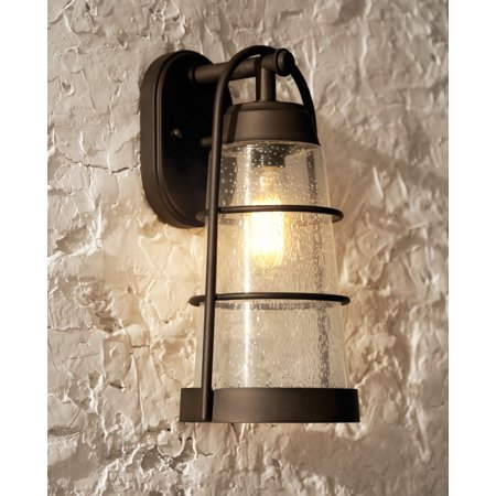 Franklin Iron Works Rustic Outdoor Wall Light Fixture Oil Rubbed Bronze 14 3 4 Clear Seedy Gl Lantern For Exterior House