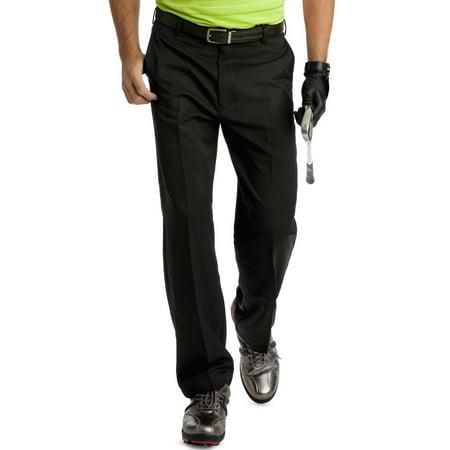izod slim fit stretch flat front golf pants black solid 32w x 32l