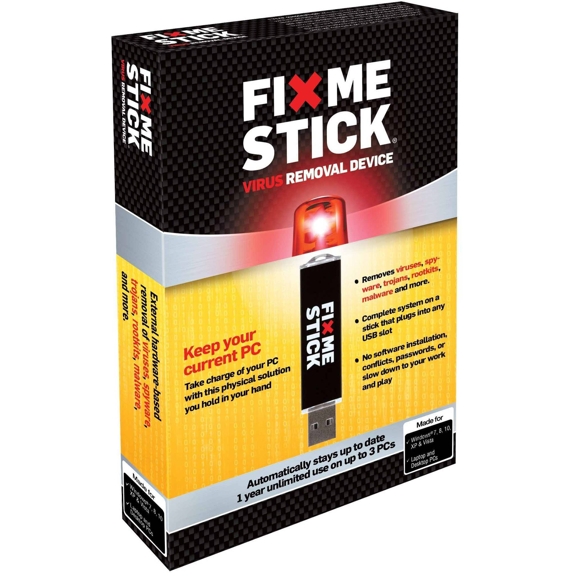 FixMeStick - Virus Removal Device - Unlimited Use on up to 3 PCs