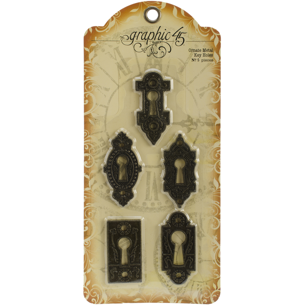 Graphic 45 Ornate Metal Key Holes, 5/Pkg
