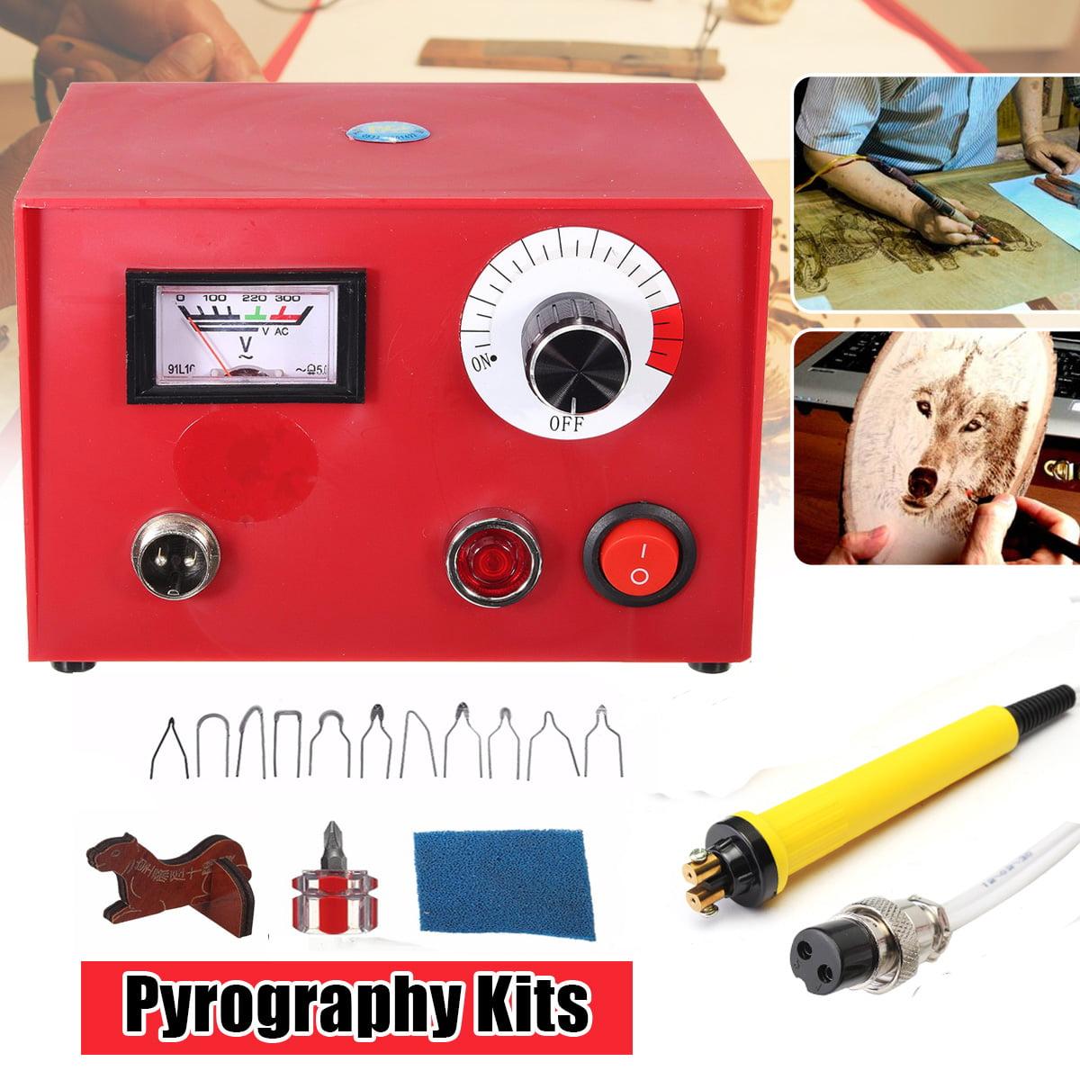220V 50W Multifunction Pyrography Machine Gourd Wood Burning Tool Pyrography Crafts Tool Kit New