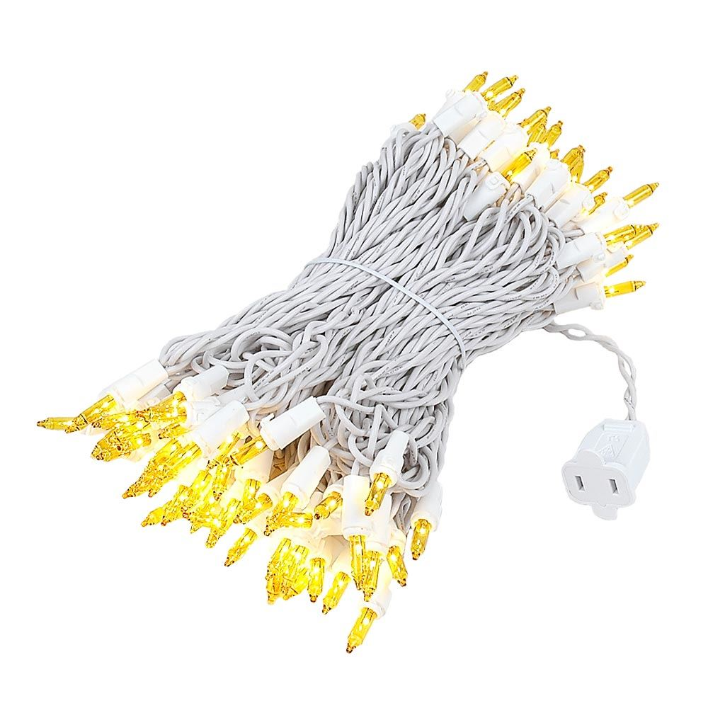 Novelty Lights 100 Light Heavy Duty Clear Christmas Mini Light Set, White Wire, Connect 10, 50' Long