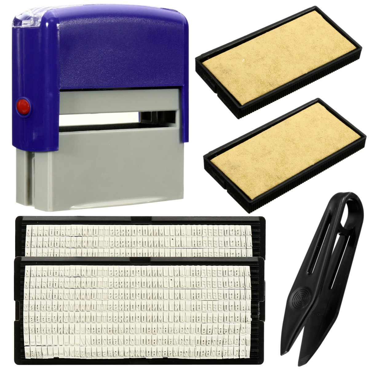 6PCS Set DIY Personalised Self-Inking Rubber Stamp Kit Customized Business Name Address-3 Lines