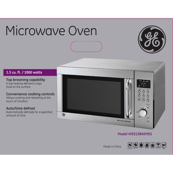 Ge 1 3 Cu Ft Stainless Steel Countertop Microwave Oven With Browner