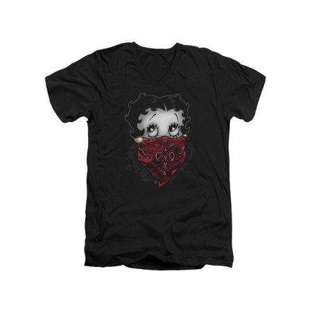 5a68f939 Betty Boop - Betty Boop Cartoon Bandana & Roses Adult V-Neck T-Shirt Tee -  Walmart.com