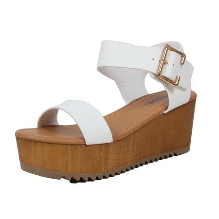 2281f0e9b1f6 Soda Shoes - Soda Women s Open Toe Ankle Strap Flatform Sandal Wedge  (White
