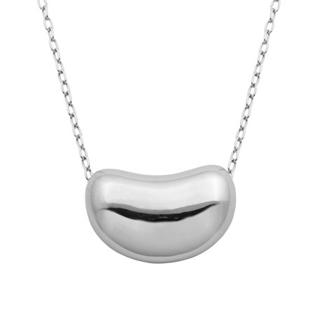 Sterling Silver Modern Bean Pendant Necklace,