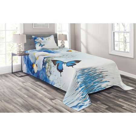 Floral Coverlet Set, Blue and White Wild Flowers with Monarch Butterflies Lily Therapy Zen Spa Art Prints, Decorative Quilted Bedspread Set with Pillow Shams Included, Pale Blue, by Ambesonne Spa Quilted Sham Set