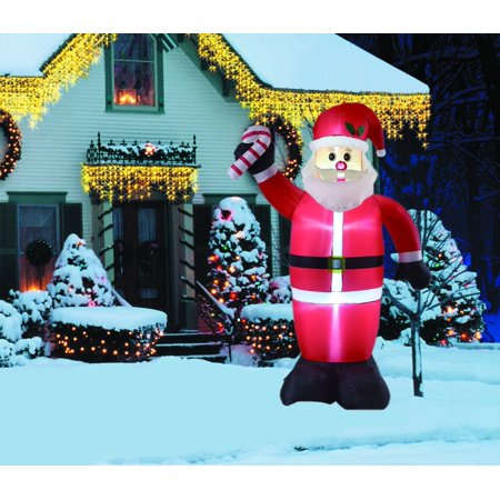 8ft inflatable santa with candy cane indoor outdoor christmas decorations - Walmart Christmas Decorations Indoor