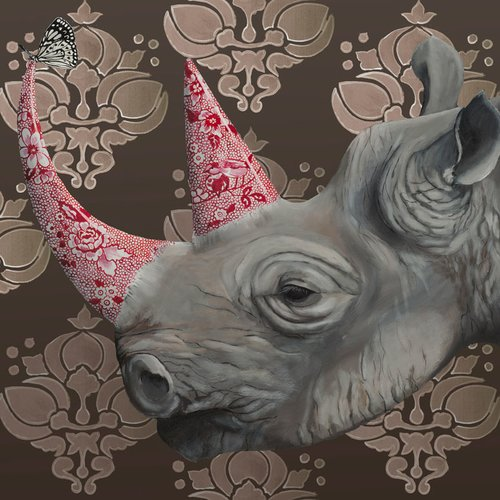 East Urban Home 'Rhino on Brown' Acrylic Painting Print
