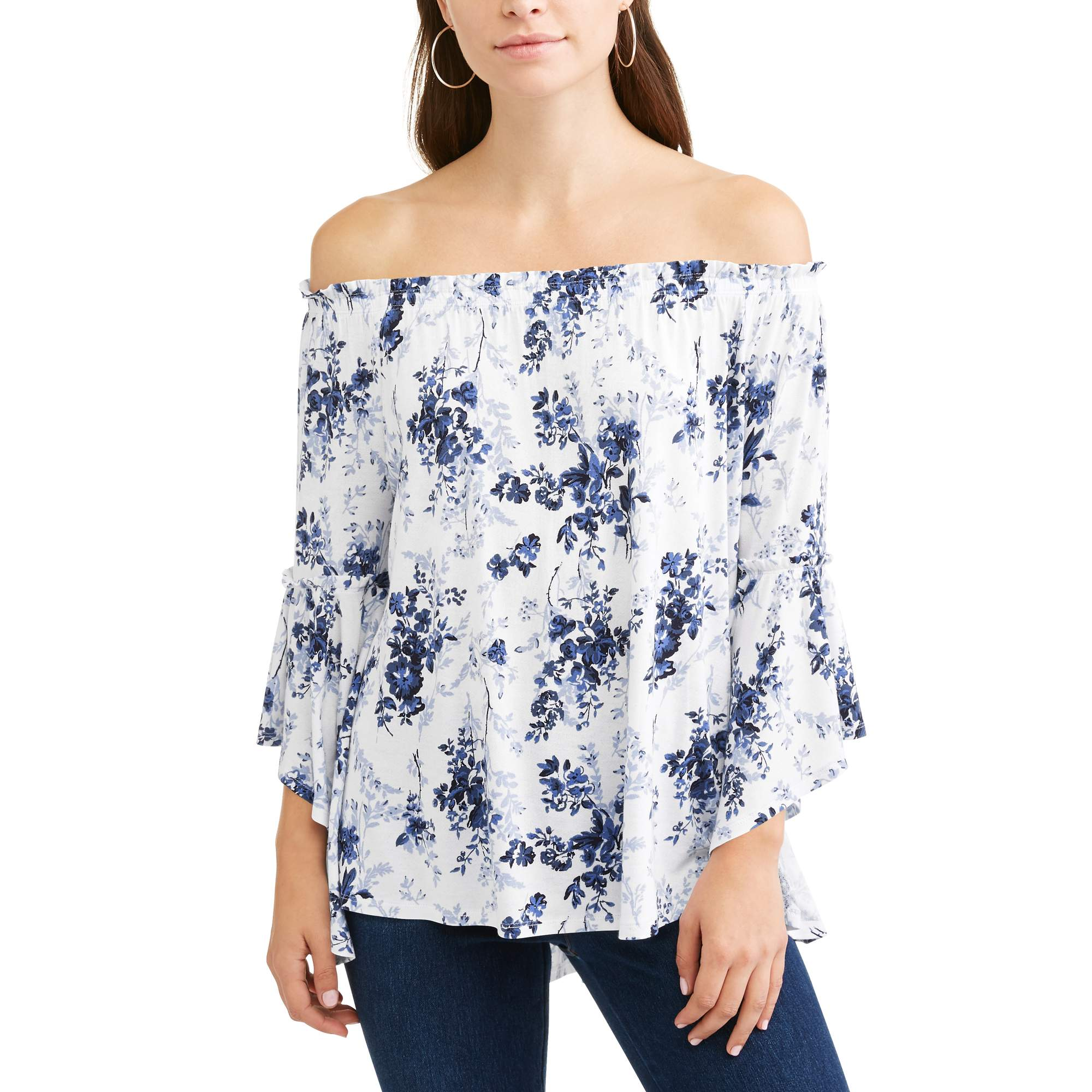4958212e94ce9 Time and Tru - Women s Off Shoulder Shirred Flutter Sleeve Top - Walmart.com
