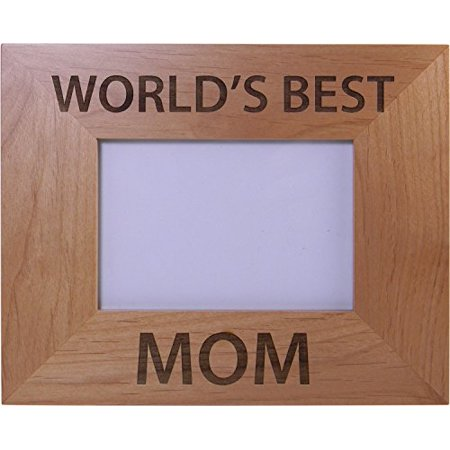 World's Best Mom Wood Picture Frame - Great Gift for Mothers's Day Birthday or Christmas Gift for Mom Grandma