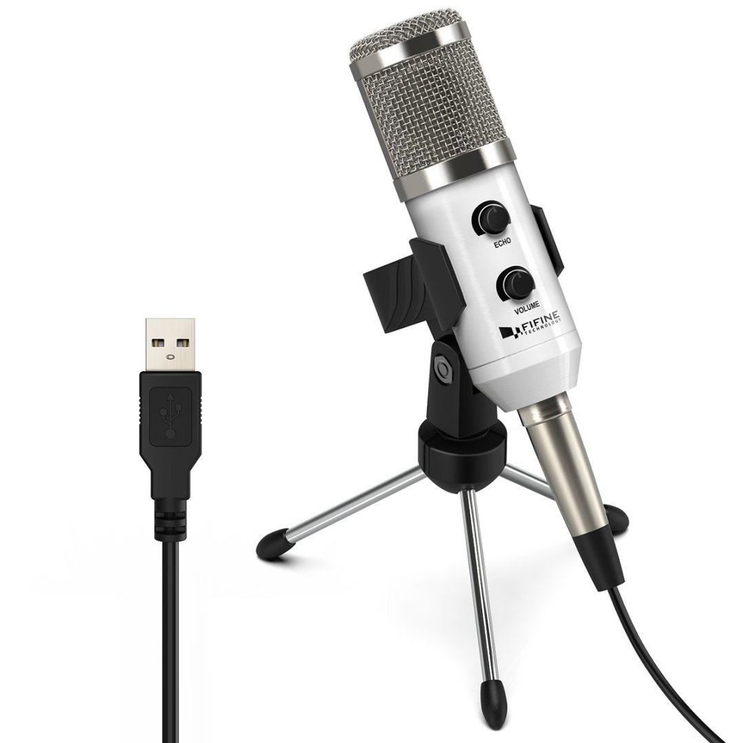Fifine Plug & Play USB Condenser Mic Desktop Microphones For PC/Computer(Windows, Mac, Linux OX), Podcasting, Recording
