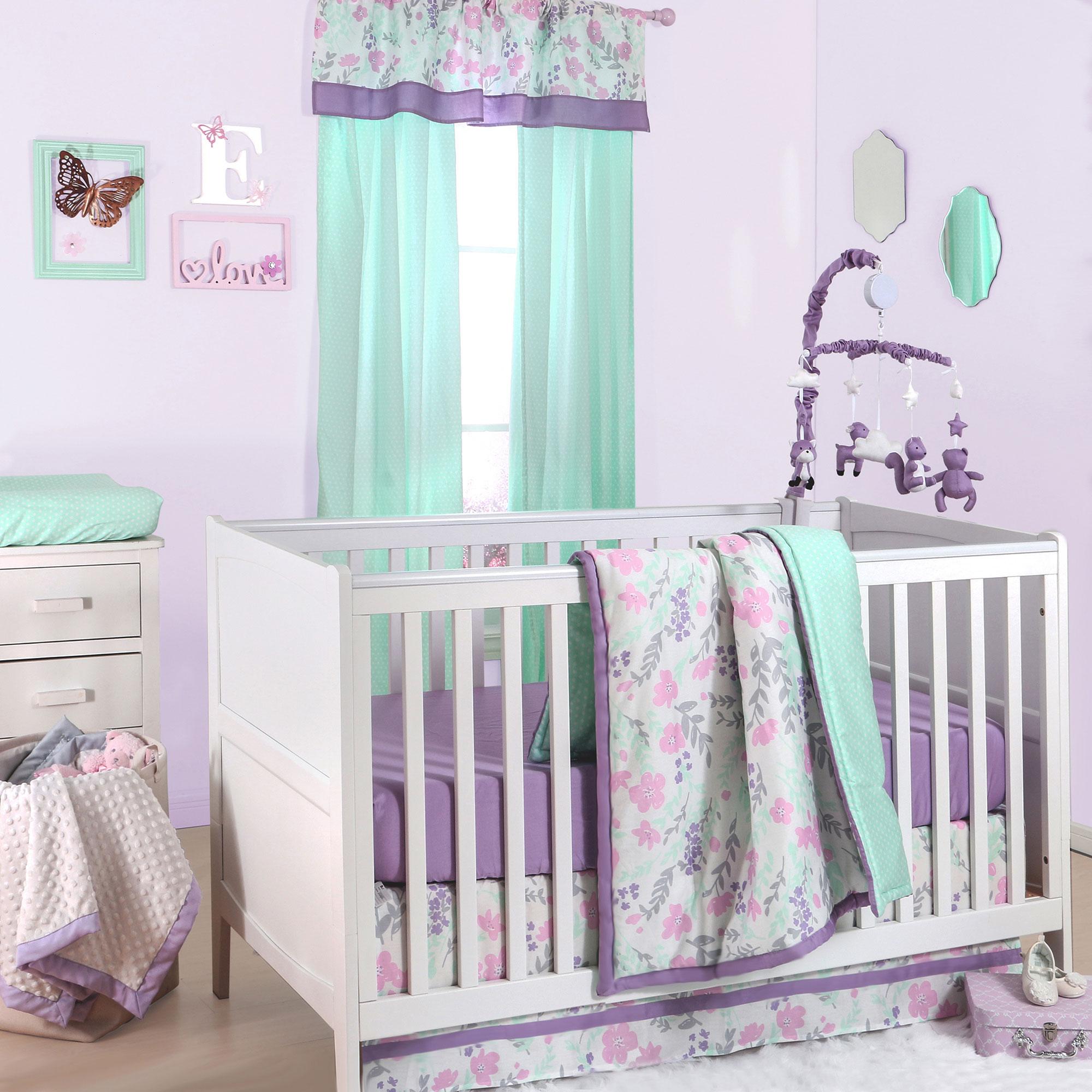 Flower & Dew Drop Pink and Purple Baby Girl Crib Bedding - 11 Piece Sleep Essentials Set