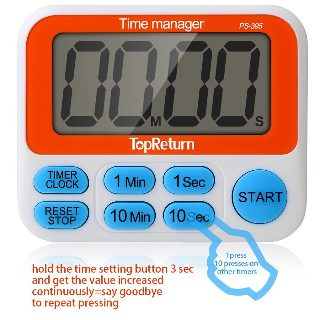 Kitchen Timer, Dual Count UP/Down Timer, Led Digital Large Display, Loud Alarm, Magnetic Backing, Stand (1 pack)