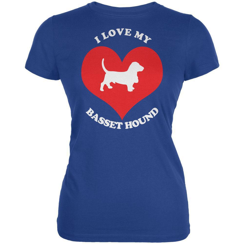 Valentines I Love My Basset Hound Royal Juniors Soft T-Shirt
