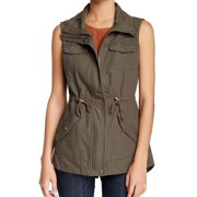 Sebby Women's Size Small Sleeveless Zip/Button Up Jacket, Cinder Brown