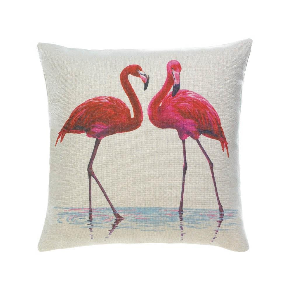 Throw Pillows Decorative, Polyester Throw Pillow For Bed Pink Flamingos by Accent Plus