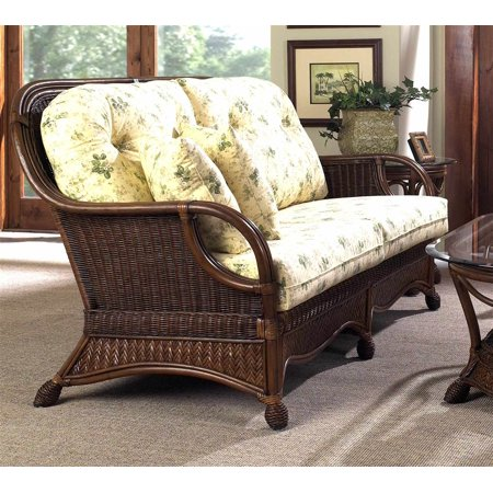 Newport Rattan Sofa w 2 Toss Cushions in Urban Mahogany (641)