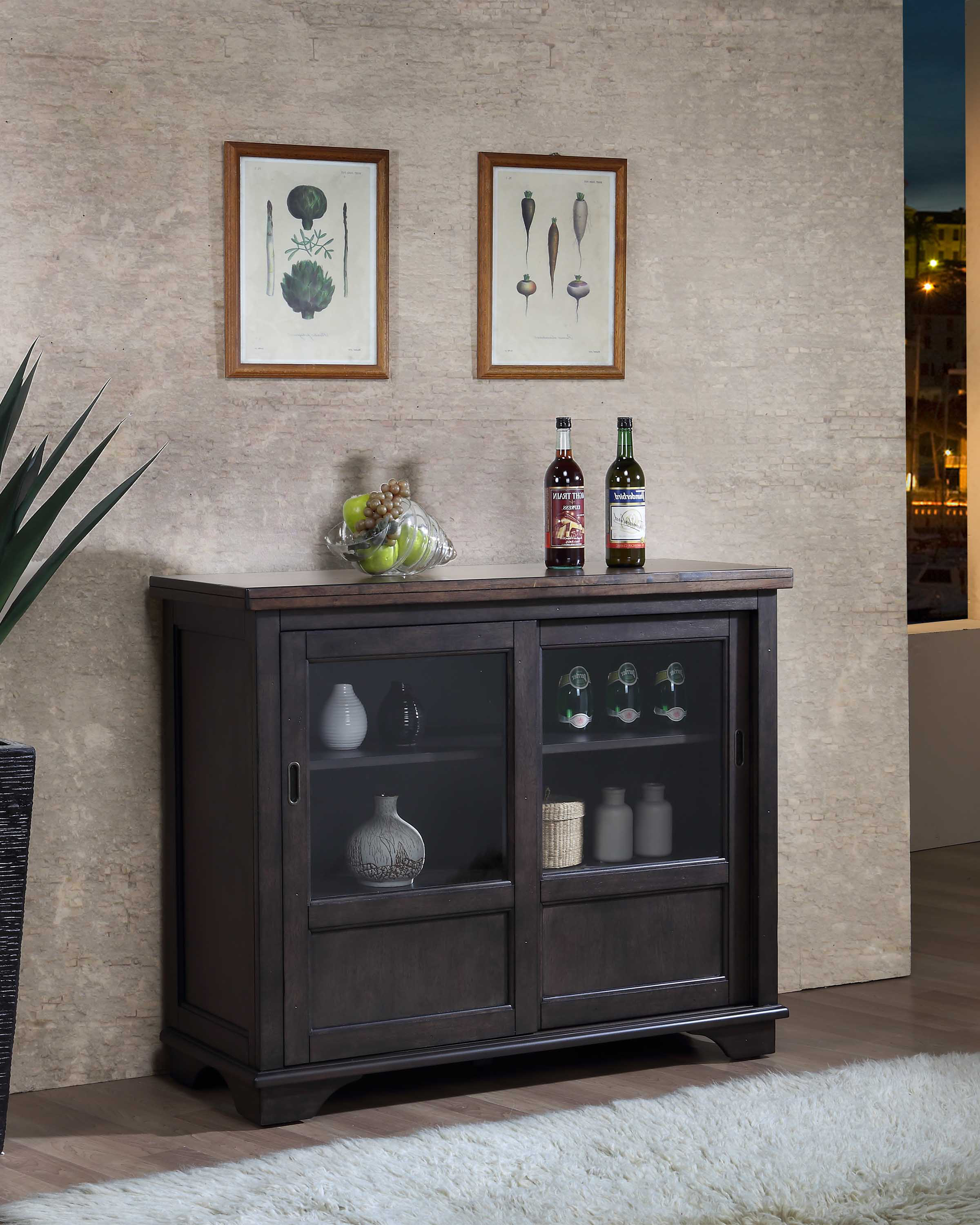 Grey Brown Wood Buffet Sideboard Server Display Storage Cabinet With Glass Sliding Doors by unknown