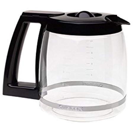Cuisinart 12-Cup Replacement Glass Carafe, Easy to Read Water Level Markings Features Comfort Grip with Knuckle Guard and Dripless Pour Spout, Black Finish