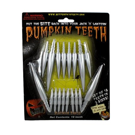 Halloween Pumpkin Carving Kit - Pumpkin Teeth for your Jack O' Lantern - Set of 18 Metal Fang Teeth - Halloween Ice Carvings