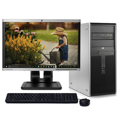 "Refurbished Desktop Computers HP Windows 10 PC Tower Intel 2.13GHz 4GB Ram 1TB Hard Drive DVD w/17"" LCD Monitor and Wifi"
