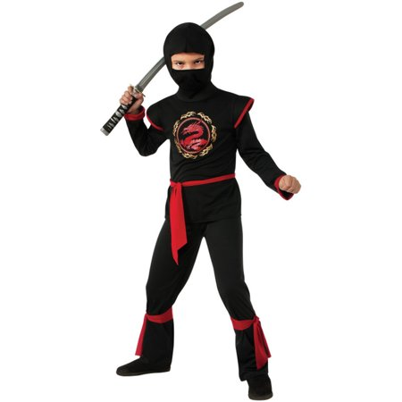 Kids Boys Red Dragon Ninja Warrior Costume Large 12-14 (Boys Dragon Costume)