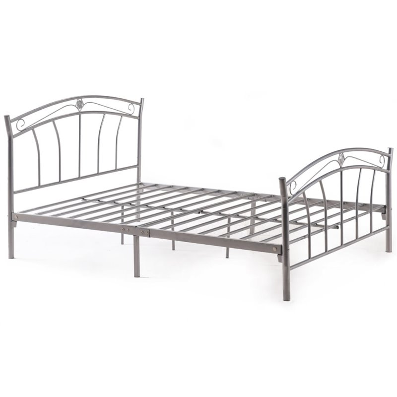 Pemberly Row Queen Metal Panel Bed in Silver