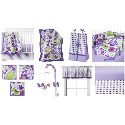 Bacati Botanical 10-Piece Nursery-in-a-Bag Crib Bedding Set with Bumper Pad, Purple for US standard Cribs