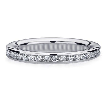 .50 Carat TW Diamond Eternity Ring in White Gold, Beautiful 1/2 CT Diamond Anniversary - Diamond Simulant Eternity Band