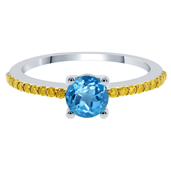 1.30 Ct Round Swiss Blue Topaz Canary Diamond 925 Sterling Silver Ring by