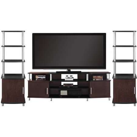 Carson XL Black and Cherry 3 Piece Entertainment Center Bundle for TVs up to 70;