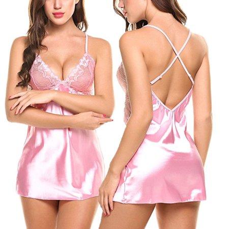 aa7509e28fcc ZAXARRA - Sexy Women Lace Trim Lingerie Dress Lace V-neck Gown Nightdress Underwear  Babydoll Sleepwear Dress Pink M - Walmart.com